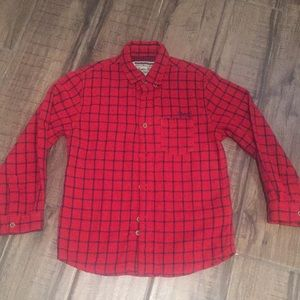 NWOT boys Mayoral red/navy button up shirt, sz 6